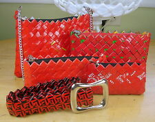 Recycled Candy Wrapper 4 Sizes PURSE SET w/BELT Red Gift Set