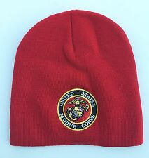 United States US Marines Corps Red Cuffless Knit Hat Beanie