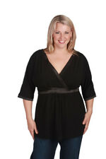 CURVACEOUS SZ 18 Kimono Smart Black Top NWT * For women with curves CA0058
