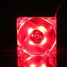 Neon Quite Clear 80mm 25mm Red LED Fan 4Pin DC 12V PC Computer Case Cooling Fan