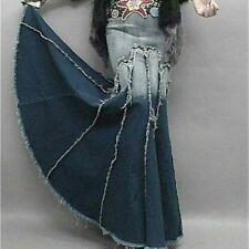 Women Denim Fishtail Mermaid Skirt Dress Faded Swing Fringe Trim Bodycon Jeans