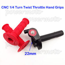 1/4 Turn Twist Throttle Handle Grips Red For 50cc-250cc Pit Dirt Bike Mini Motor