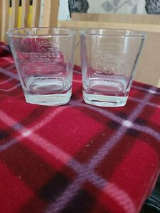 JACK DANIELS 150th Anniversary Distillery Set  2 Heavy Embossed Whiskey Glasses