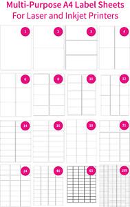 Rectangle matte white laser inkjet printer labels A4 sheet - various sizes