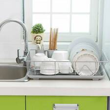 Large Dish Drainer Metal Wire Cutlery Draining Holder Plate Rack Kitchen Sink uk