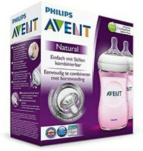 Philips Advent Natural Feeding Bottles 2-Pack 260ml Ages 1-12 Months SCF694/27
