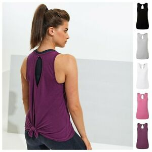 Ladies Sleeveless Vest Top Tank Top Gym Sports Yoga Loose Fitted Tie Split Back