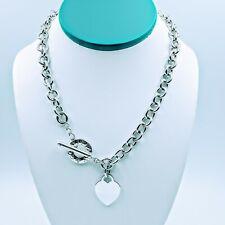 """Tiffany & Co Heart Charm Toggle Necklace 16.5"""""""