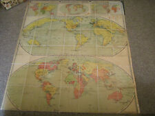 VINTAGE 1931 DENOYER GEPPERT WORLD MAP S9 SERIES 7TH EDITION FOLDS BOOK STYLE