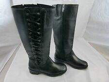 nurture tall black leather boots lace-up style Size 6 New
