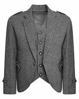 Custom Tweed Crail Highland Kilt Jacket & Waistcoat Grey Scottish Wedding Dress