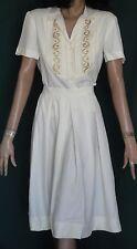 Vintage Greta Plattry Original Winter White Rayon 2 Piece Dress Full Skirt B38