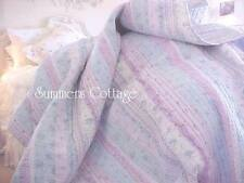 LAVENDER BLUE LILAC WHITE LACE SHABBY RUFFLES COTTAGE ROSES CHIC QUEEN QUILT SET