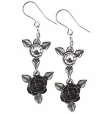 Ring 'O Black Roses Mysterious Love Dangling Earrings Pair Alchemy Gothic E398