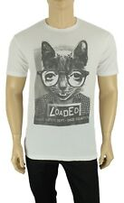 NEW MENS BODY RAGS CLOTHING WHITE CAT LOADED GRAPHIC T SHIRT TEE L
