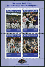 Chad 2019 CTO Boston Red Sox World Series 2018 4v M/S Baseball Sports Stamps