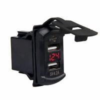 Car Boat 4.2A USB Port Charger Adapter Dash Flush Mount Panel Red LED Voltmeter