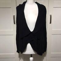 Per Una Size 12 Black Cardigan Angora Cotton Blend Long Sleeved