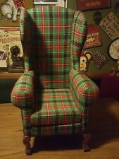 1997 Santa Bear Chair Dayton Dayton'S Hudson Green Plaid Wooden Legs Christmas