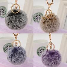 Women Bag Key Chains Fur Pom Poms Ball Keychain Keyring Bag Charm Pendant FO