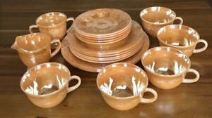 Fire King Peach Raster 19 piece set Kitchen Interior Tableware Laurel Japan F/S