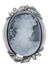 Women Crystal Beauty Picture Vintage Rhinestone Cameo Brooch for
