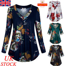 UK Womens V Neck Blouse Ladies Long Sleeve Casual Floral Shirt Tops Plus Size