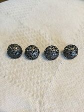 4 Vintage Openwork Filigree Metal Buttons Round Ball Cage Metal Mini bobby pin
