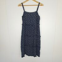 Auguste The Label Women's Dress Navy Blue Ruffle Floral Button Back Size 8