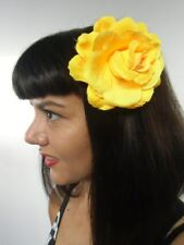 Grosse fleur rose jaune pince clip cheveux broche coiffure rétro pinup vintage