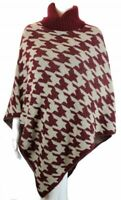 BZNA Weinrot Damen Poncho Cardigan Umhang Cape Muster Pullover Strick one size