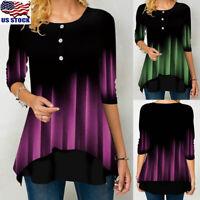 Women Gradient Irregular Tops Ladies Casual Round Neck 3/4 Sleeve T Shirt Blouse