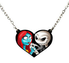 Nightmare Before Christmas Jack and Sally Halloween Heart Necklace
