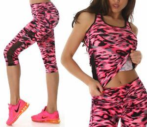 Sexy Miss Damen Girly Sport 2 Teiler Jogging Freizeit Anzug 3/4 Leggings Top Neu