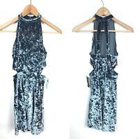 NWT Classic-Fit Womens Small Hollister Cutout High-Neck Blue Velvet Skater Dress