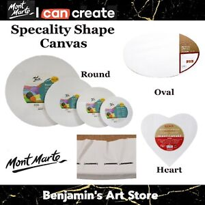 Au 3x Mont Marte Canvas Round Heart Oval Painting Board Oil Acrylic Supply