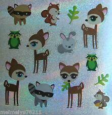 2xSheet Sandylion Glitter Stickers Animal Raccoon Owl Deer Squirrel BUY2GET1FREE