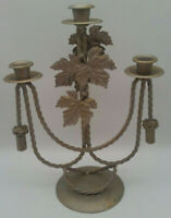 Vintage Candelabra w/ LEAVES ROPE & TASSELS 3 Arms w/ Drip Catchers AUTUMN Decor