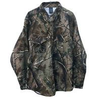 Realtree AP Shirt Camo Long Sleeve Button Down Cotton Blend Mens Large