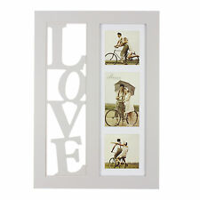 Amore LOVE Triple Collage Photo Frame In Grey 3D Cut Out Letters