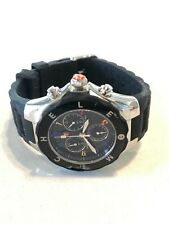 MICHELE TAHITIAN JELLY BEAN BLACK SILICONE CHRONO 36mm WATCH-MWW12F000014