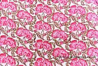 3 Yard Floral Hand Block Print Beautiful Indian Pure Cotton Fabric By Craft Pink