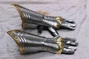 Fully Wearable Larp Medieval Pair Of Gauntlets Knight Armor Gloves Bracers