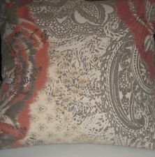 "Complete Decorative Pillow - Pottery Barn -24"" Square Grey Rust Indienne Paisley"