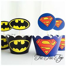 12  Batman V Superman Cupcake Toppers + 12 Wrappers. Party Lolly Bag Symbol Logo