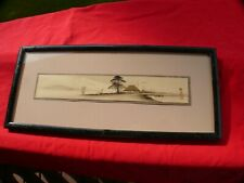 Framed Antique Asian INK & REAL GOLD SEASCAPE Artwork of an Island Cottage