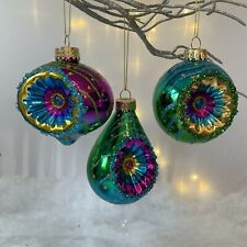 3 x Sparkly Dimpled Peacock Colour Christmas Tree Baubles Gisela Graham Vintage