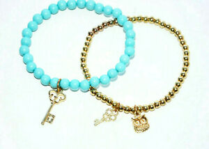 vintage beaded bracelet set owl key gold turquoise blue lot