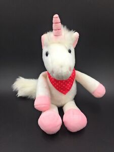 """KINDER WHITE UNICORN HORSE IN PINK NECKERCHIEF SCARF  9"""" SOFT TOY COLLECTABLE"""