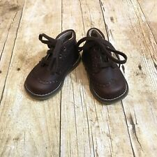 FOOTMATES Boys Size 2 Toddler Infant Brown Leather Lace Up Dress Boots Easter